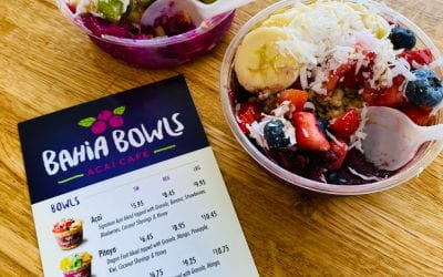 Pictured : Pitaya Bowl and Acai Bowl with the Bahia Bowls menu.