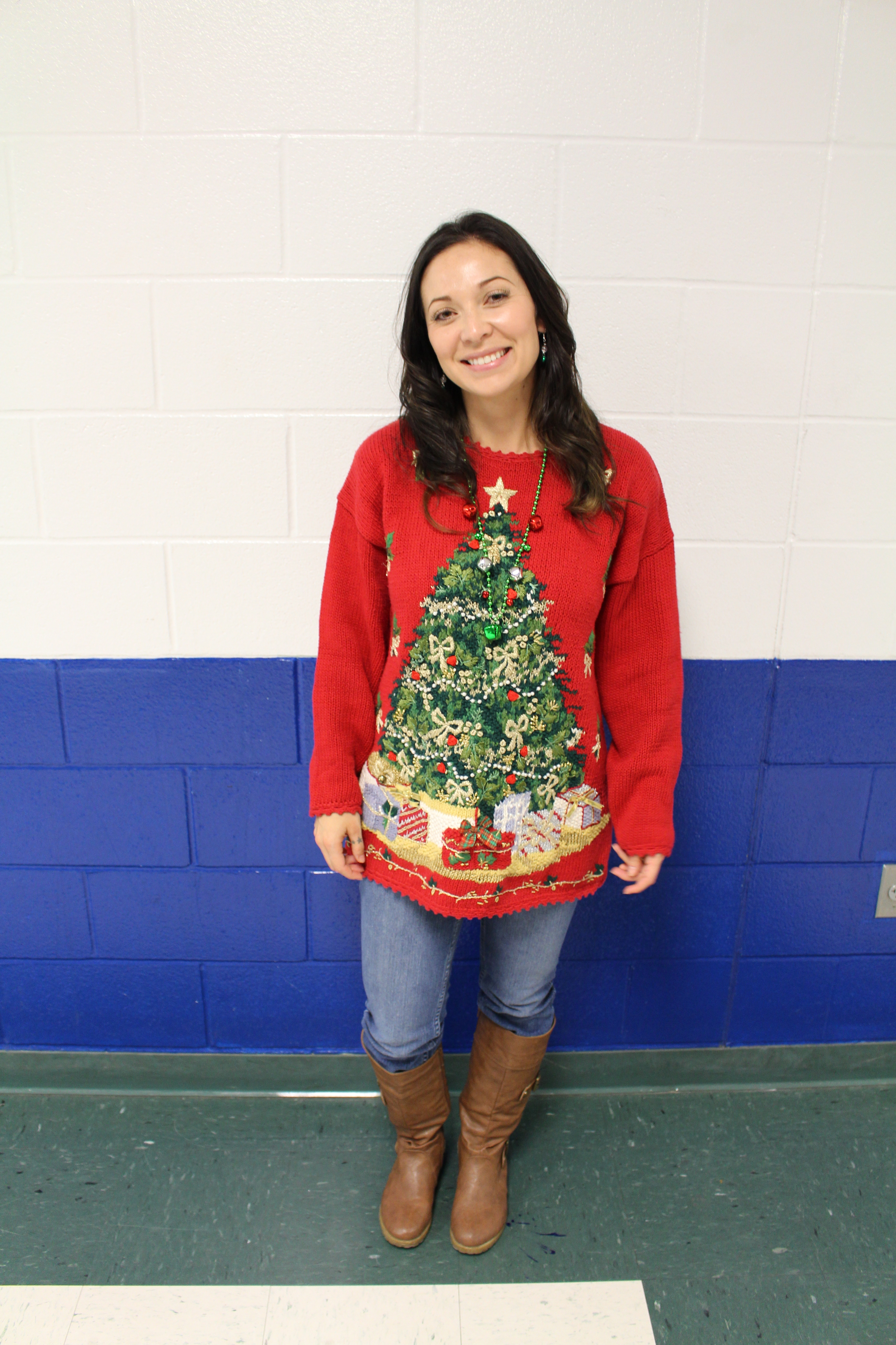 Bryant wears her tacky christmas sweater for the dress up days