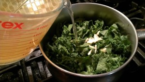 Stir the kale every once in a while, to ensure that all the kale wilts.