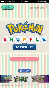 The startup screen for Pokemon Shuffle Mobile. Photo by Frank Garcia