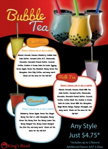 The list of bubble tea King's Bowl offers. (Photo from their website.)