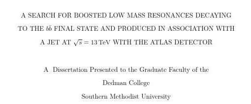 Matthew Feickert's PhD Thesis Title
