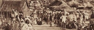 detail of photograph showing railroad construction scene from 1890 in India