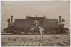 This photo of an impressive looking train is titled: Mountain Locomotive on the Mexican-Veracruz Railway.  It was taken in 1904.   Link: http://digitalcollections.smu.edu/cdm/singleitem/collection/mex/id/679/rec/2