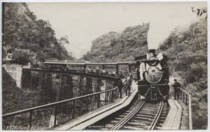 Here is a photo of a train on the Metlac Bridge in Mexico. (1904) Link: http://digitalcollections.smu.edu/cdm/ref/collection/mex/id/785