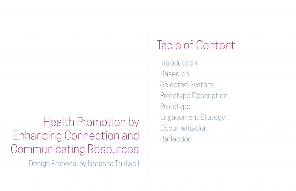 Design Proposal – Health Promotion by Enhancing Connection and Communicating Resources