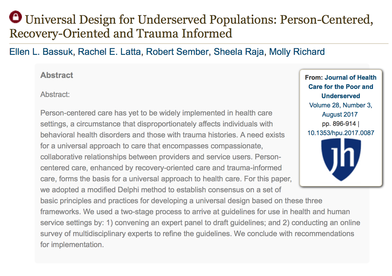 Robert Sember co-authors article on Universal Design for Health Care