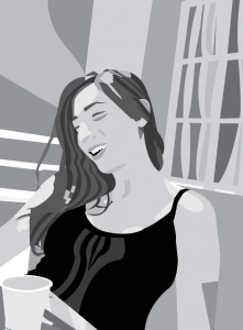 karahan-selin-self-portrait-line-drawinggrayscale