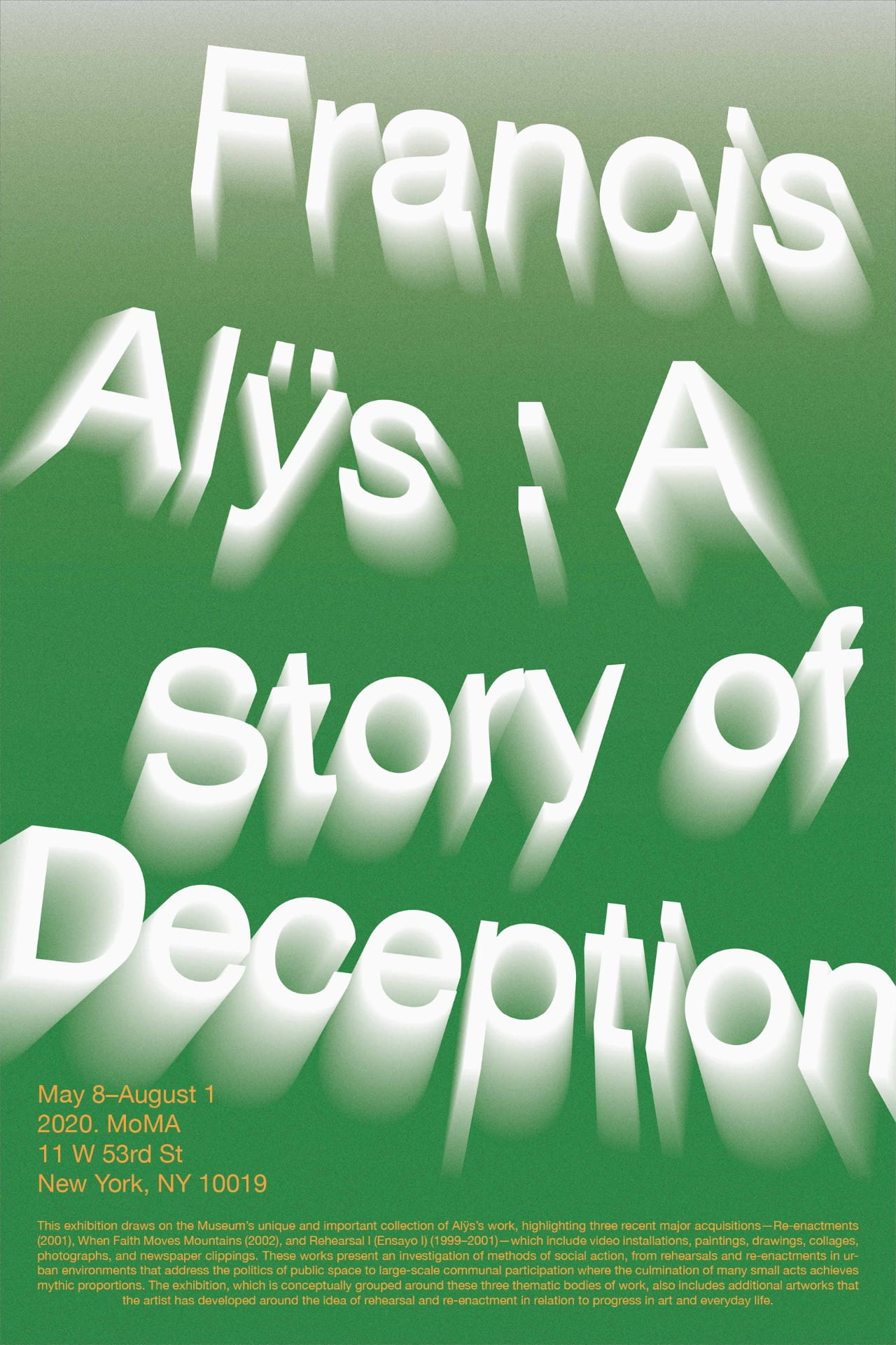 Core Lab Typography: Poster: Francis Alÿs: A Story of Deception