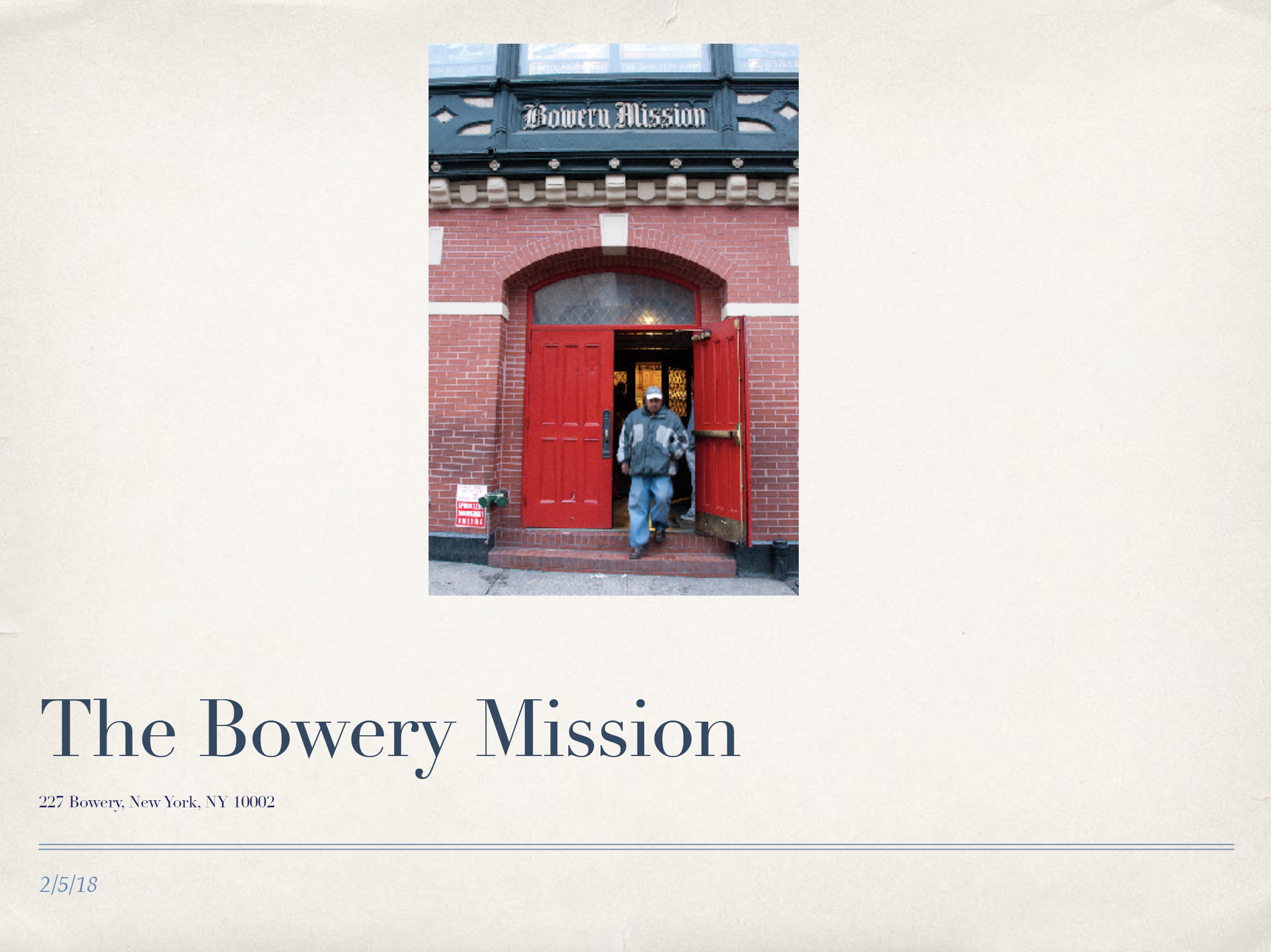 Bowery Mission Fieldwork