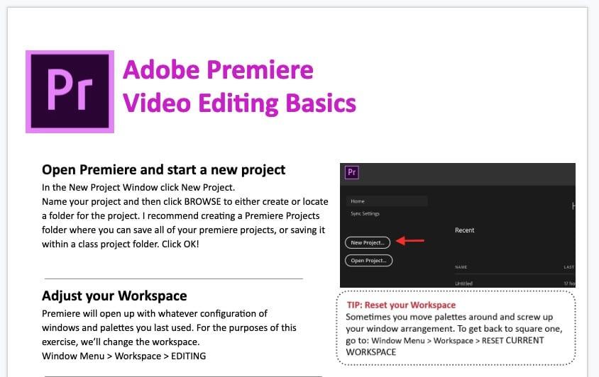 John's PREMIERE HANDOUT – Basic editing