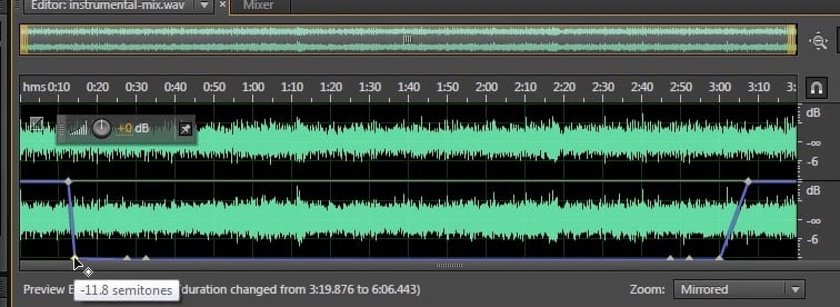 Slowing down your audio over time