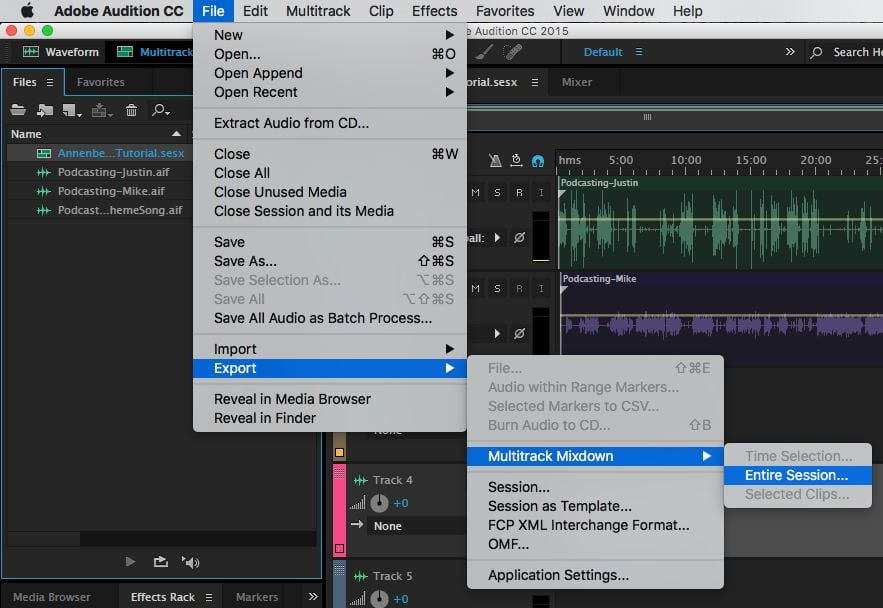 Export your Multitrack file as a WAV or MP3 audio file
