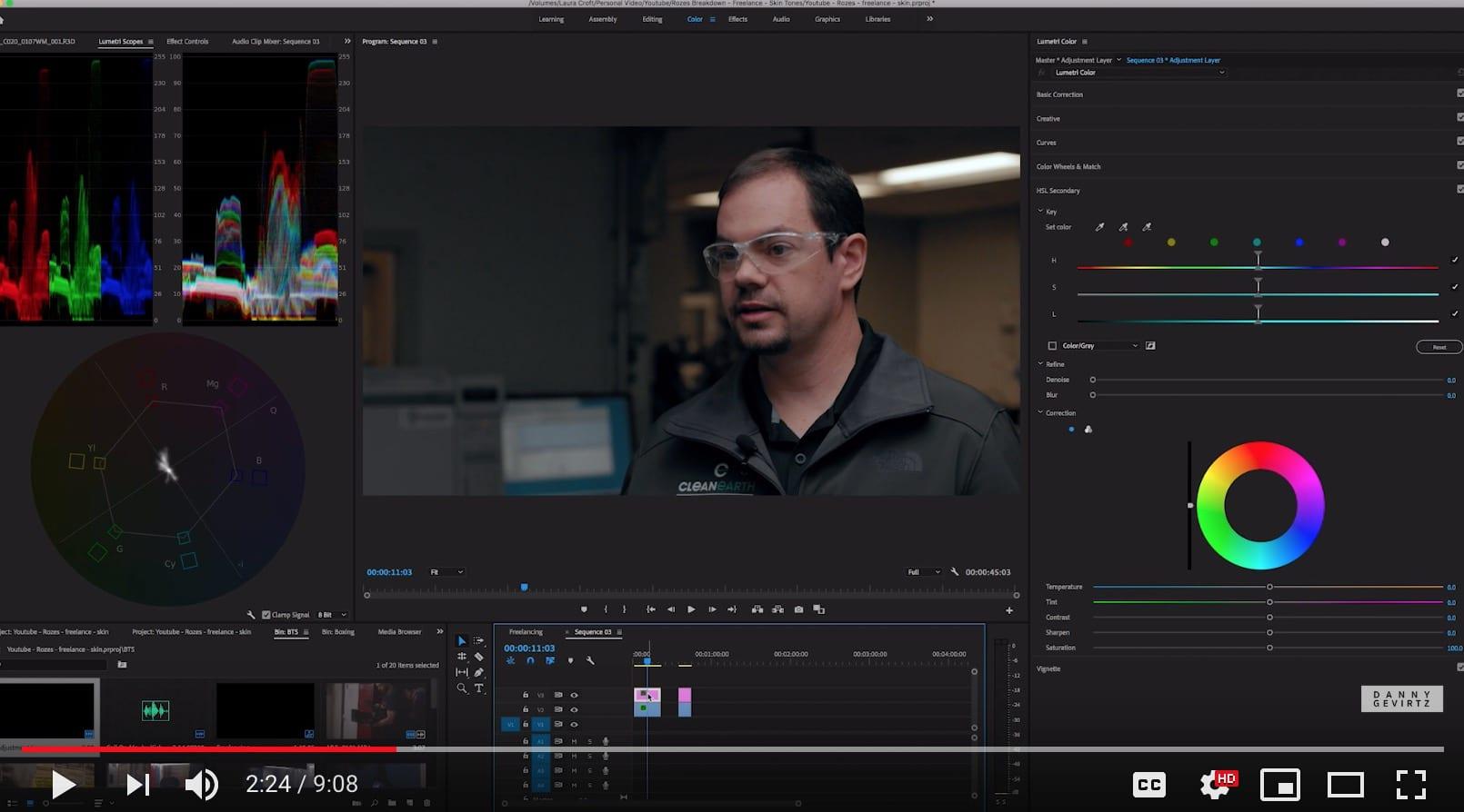 Correcting skin tones in Adobe Premiere