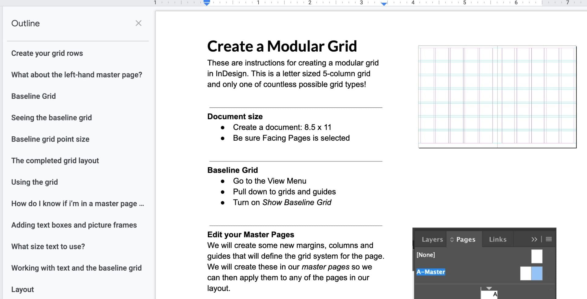 Create a modular grid in InDesign