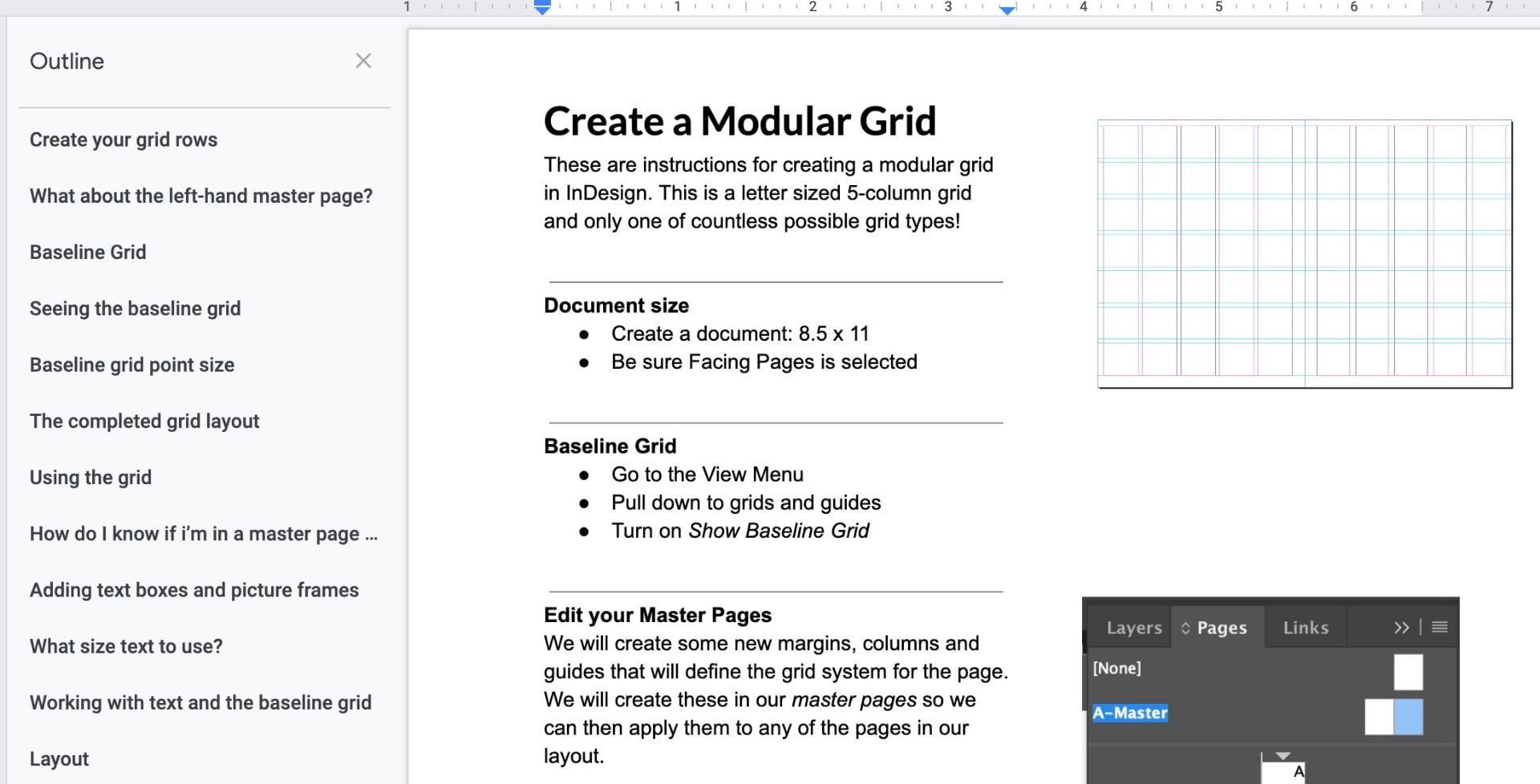 Create a modular grid in InDesign