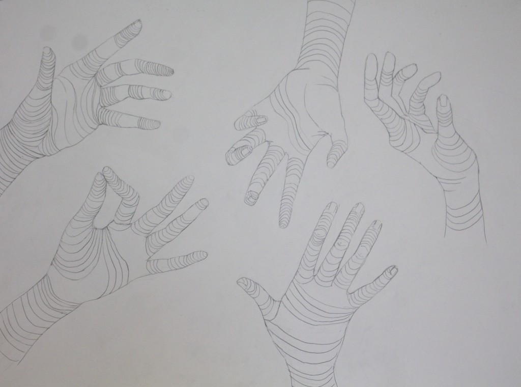 Compositional Hand Contour Drawing