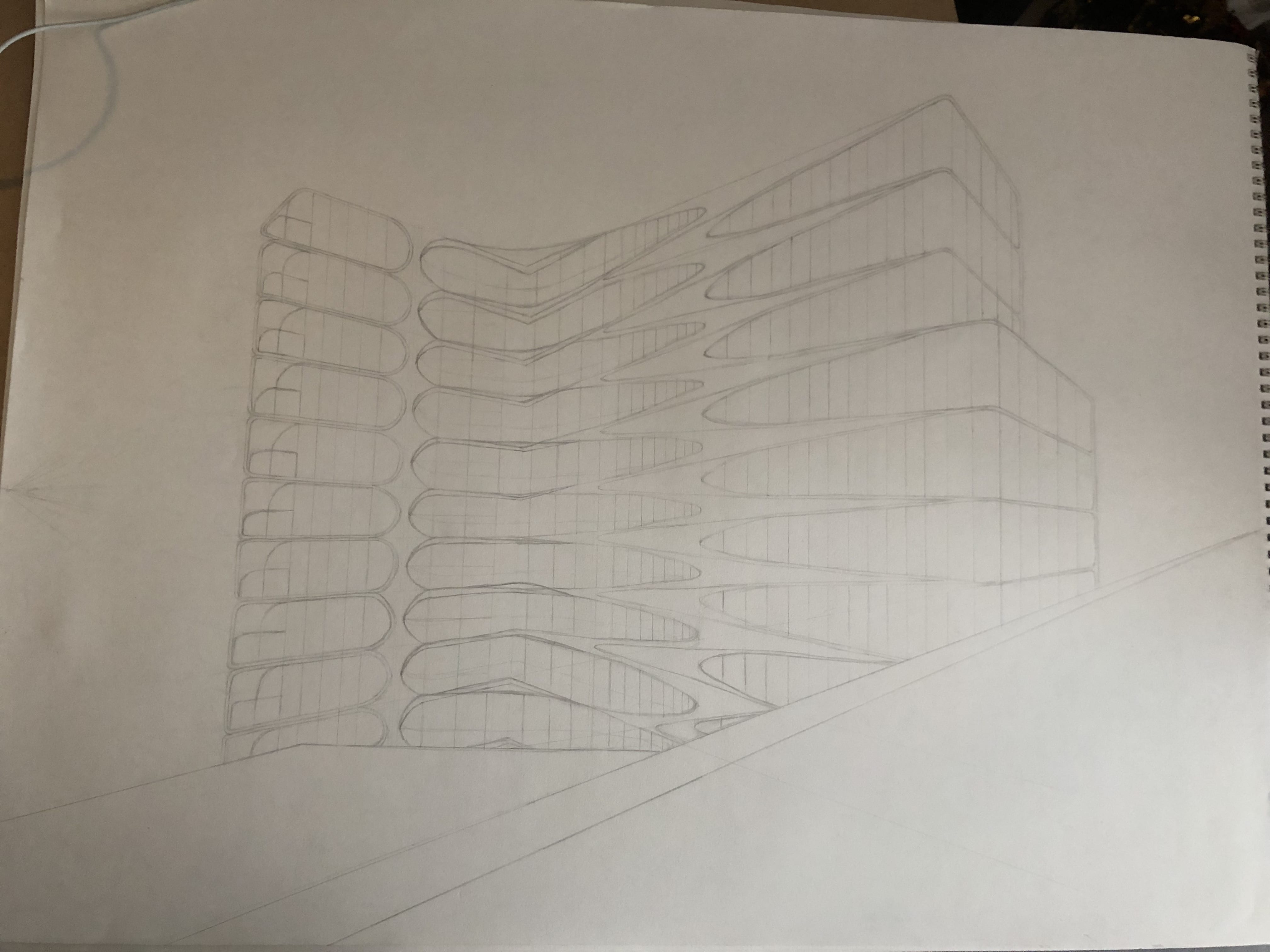construction of a city: 2 point perspective drawing