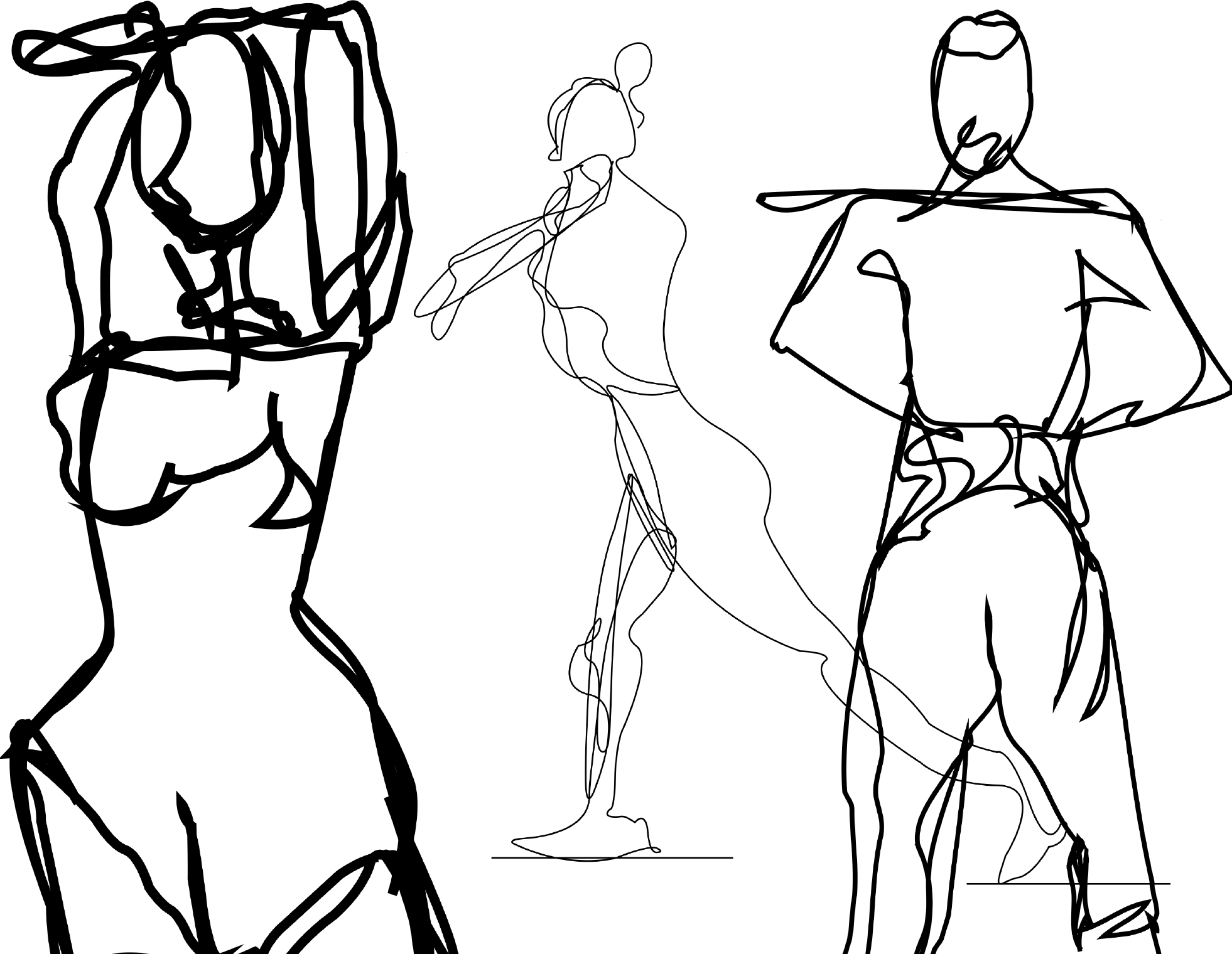 Illustrator Exercise: Contour line drawings (Figure Composition)