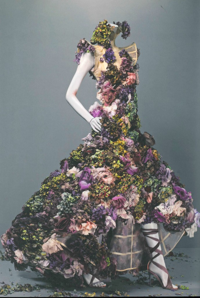 Dress, Sarabande, spring/summer 2007 Nude silk embroidered with silk flowers and fresh flowers.