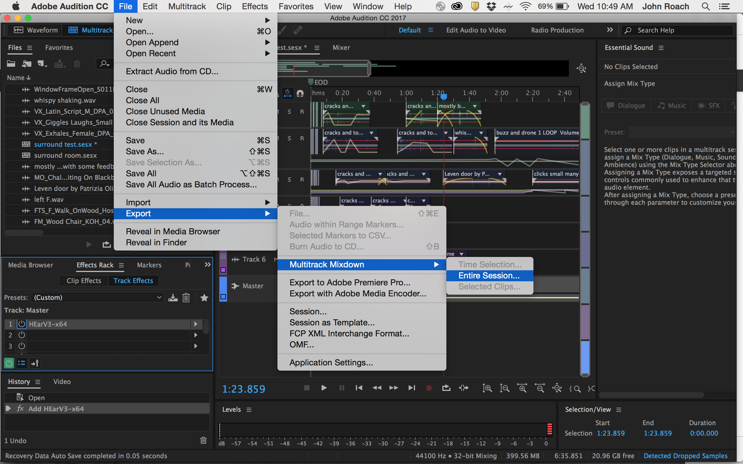 AUDITION – Export a stereo mix of your surround file