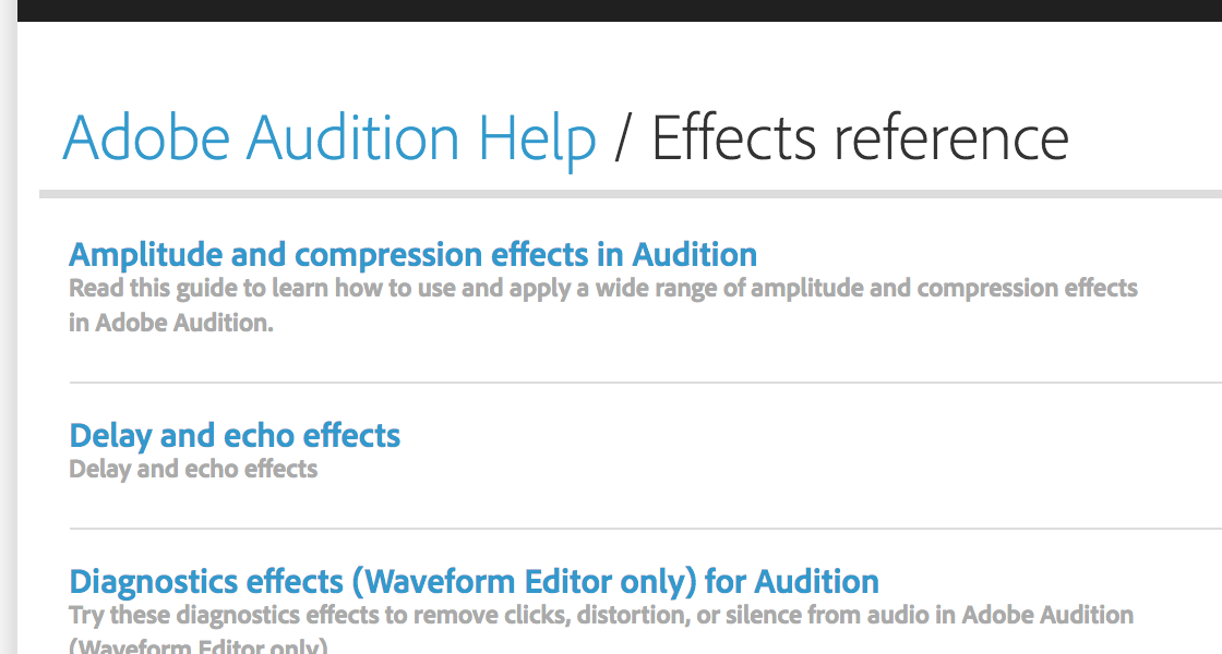 Audition – learn about effects