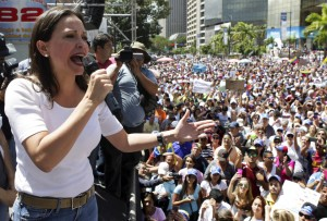 Opposition leader Maria Corina Machado speaks during a protest against President Nicolas Maduro's government in Caracas