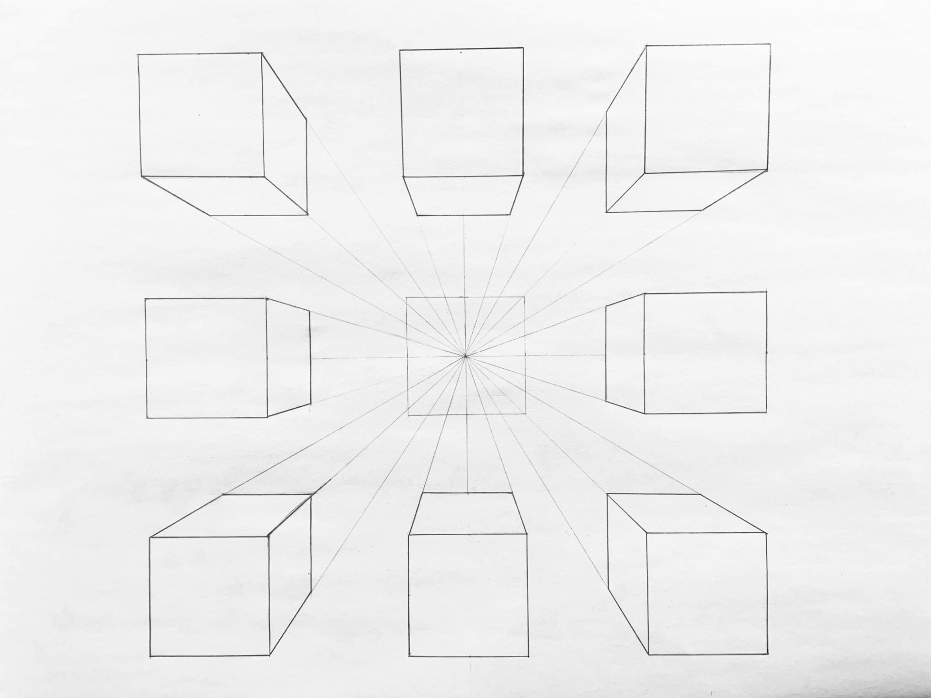 9 Cubes in One Point Perspective