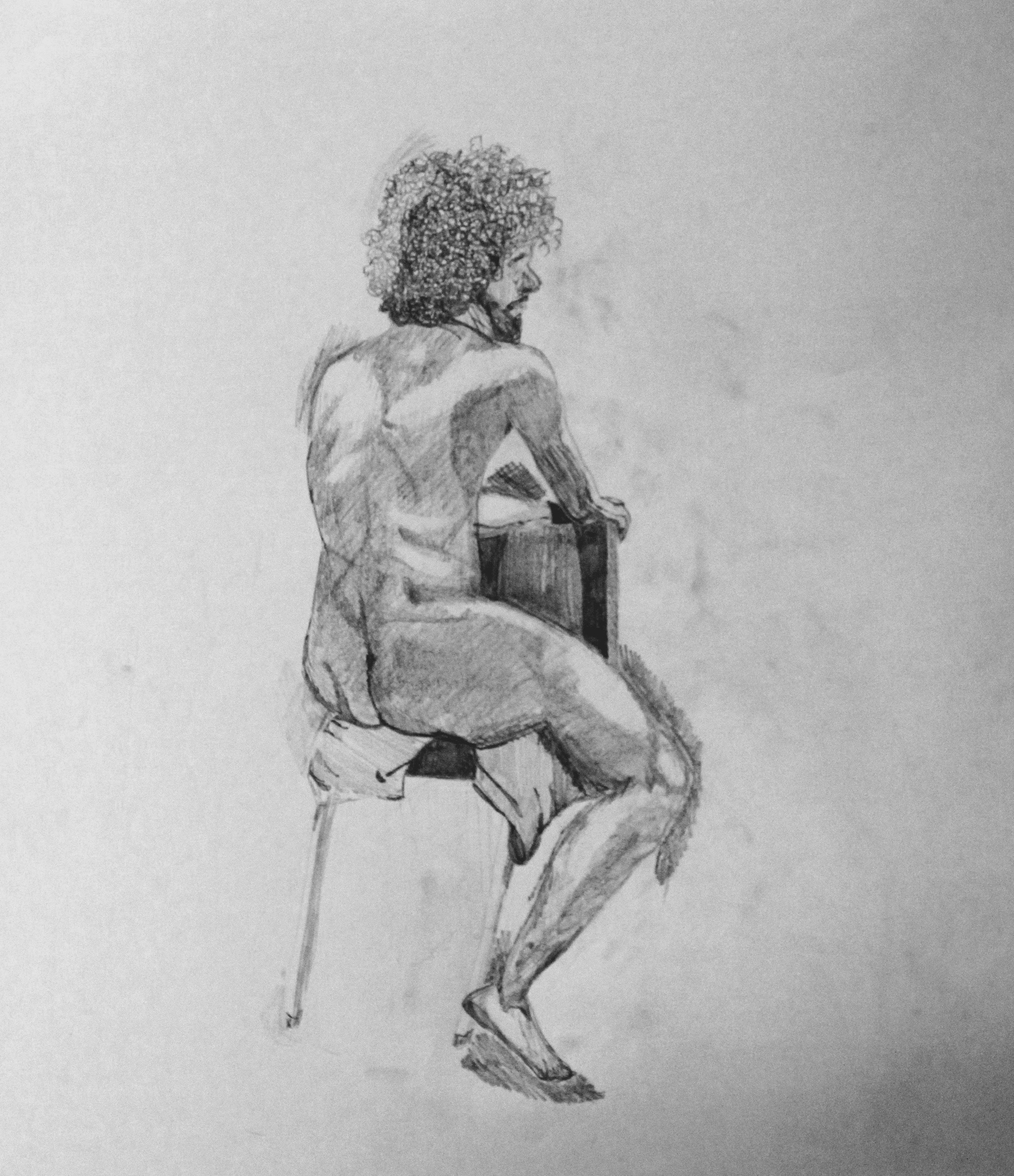 Value Studies with Model in Class-long pose