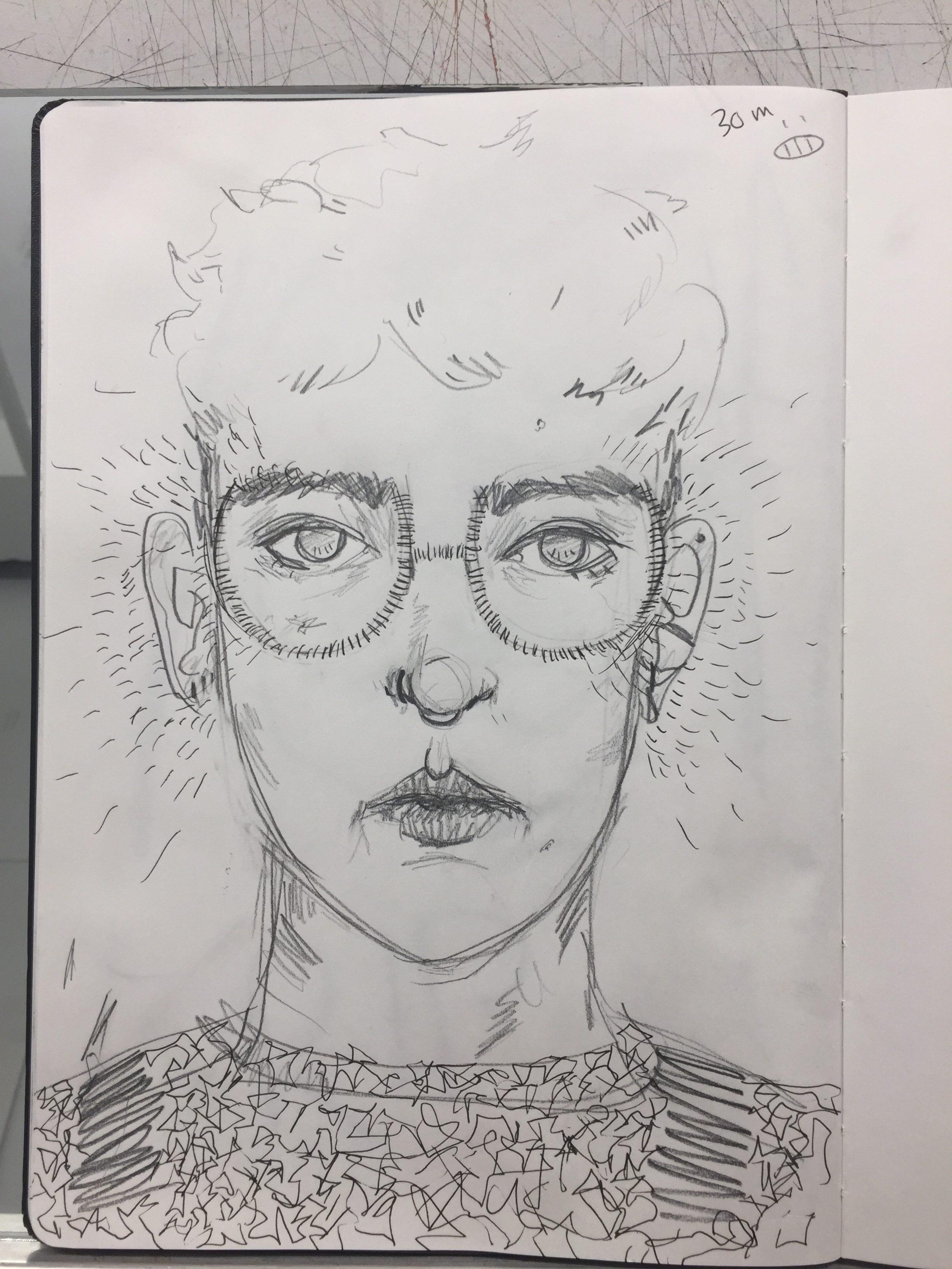 Self Portrait Exercise: Blind Contours
