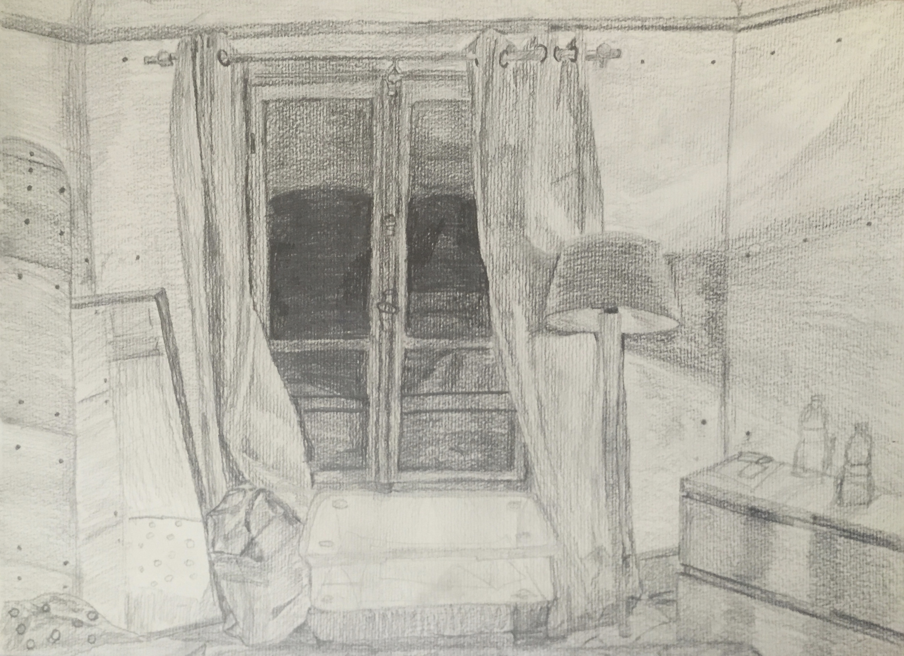 Draw your bedroom- A3 pencil