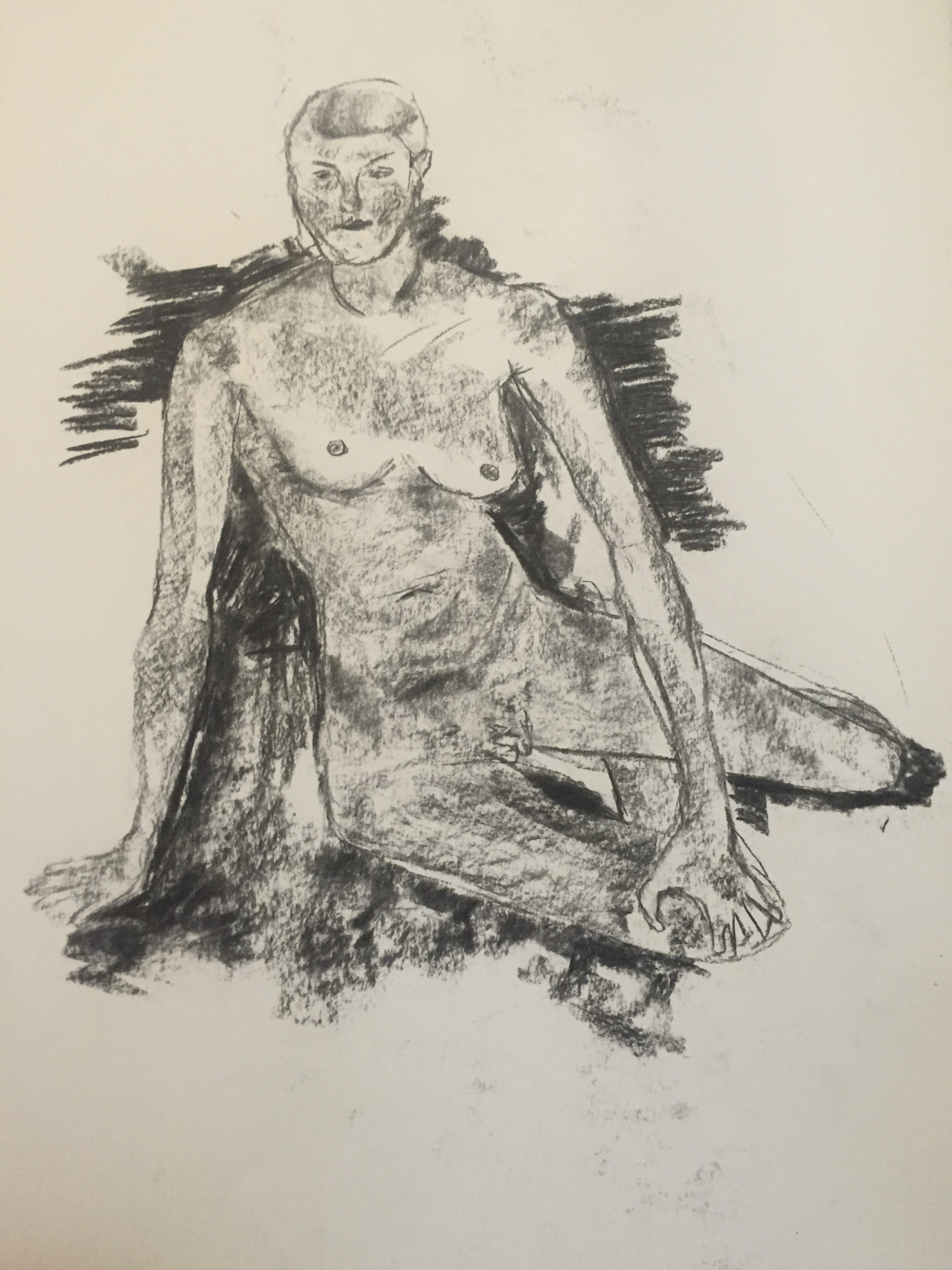 Nude drawing (woman) -charcoal & pencil