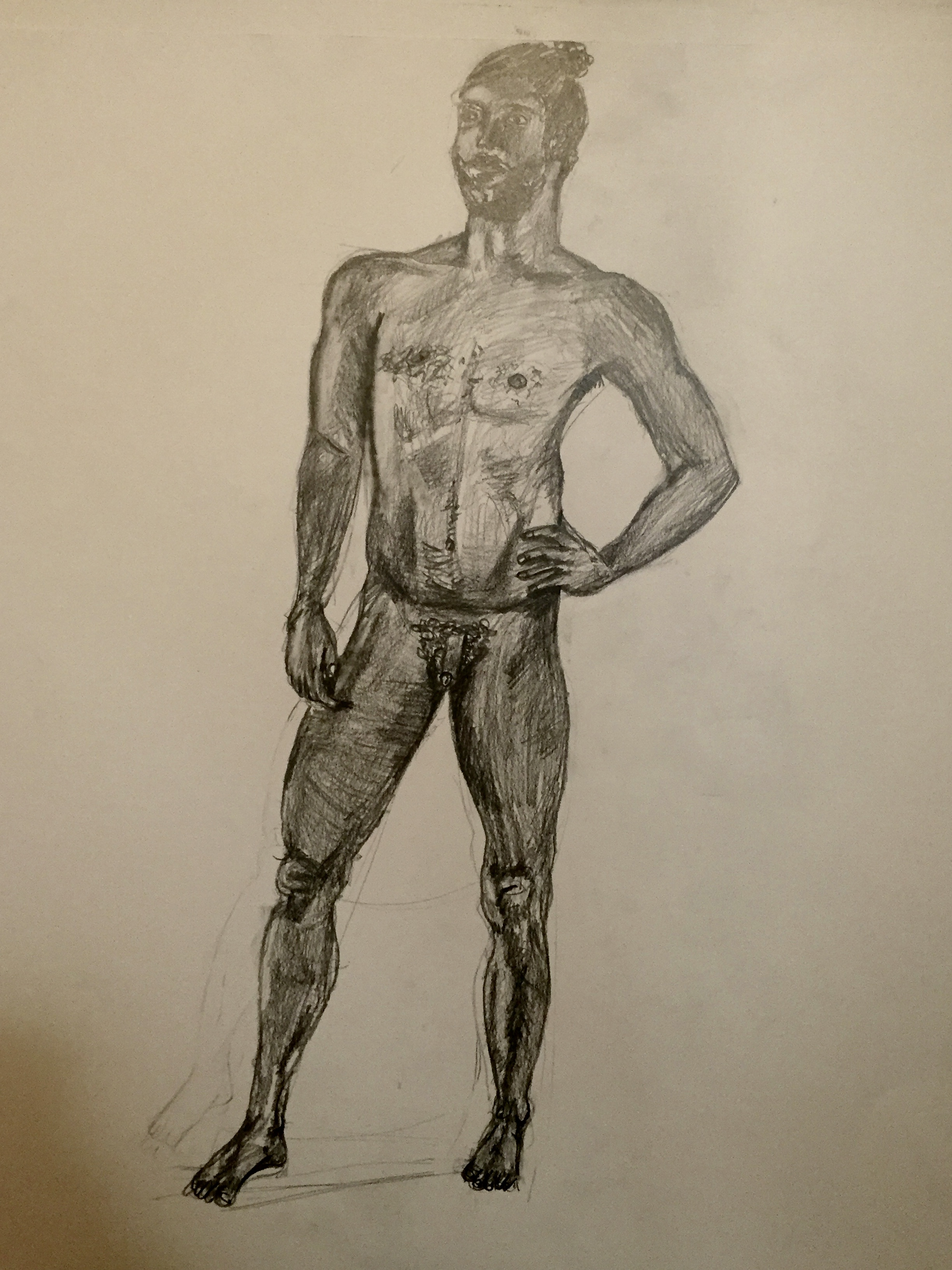 Nude drawing man – pencil