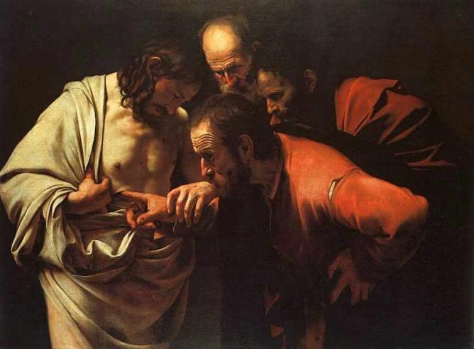 doubting thomas by caravaggio