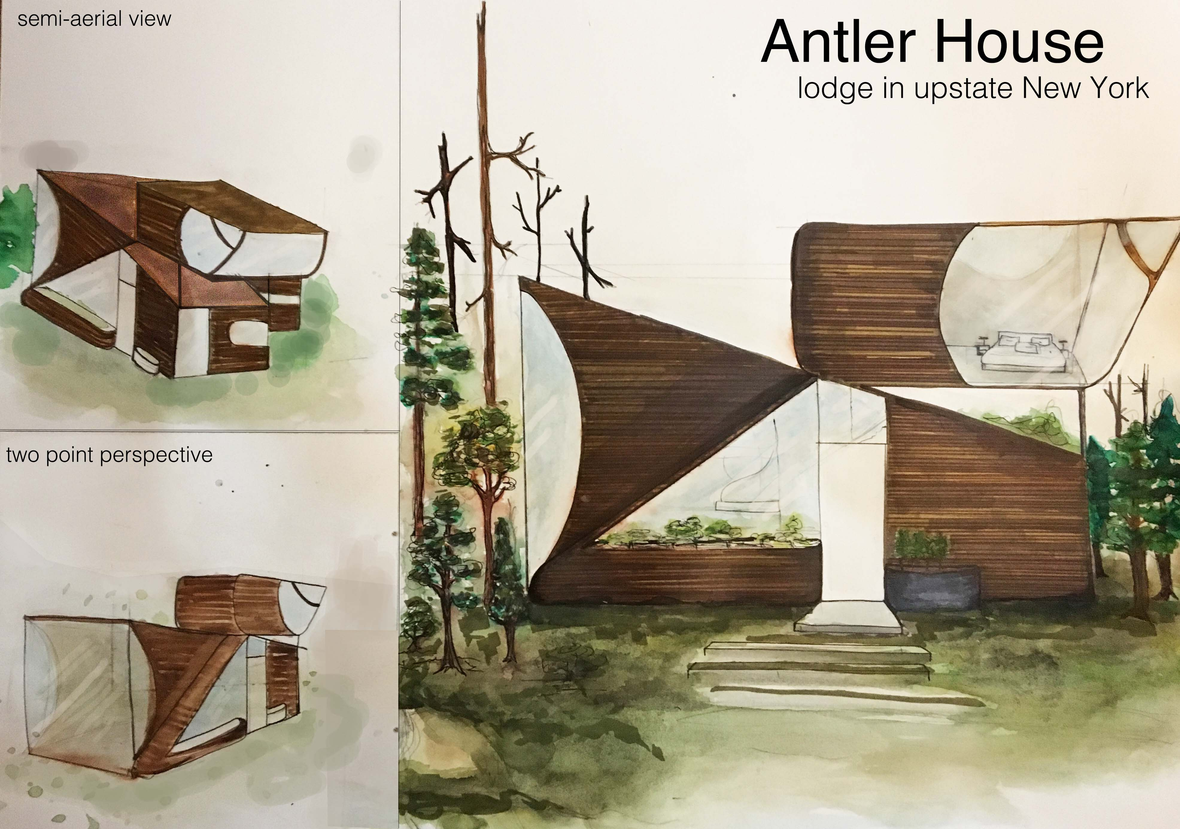 Antler house architectural rendering