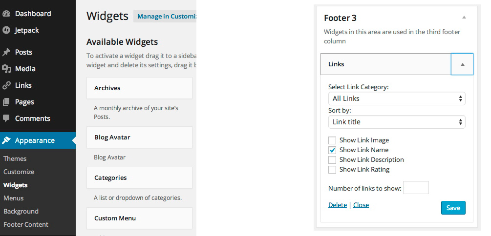 Widgets Tab & Footer 3