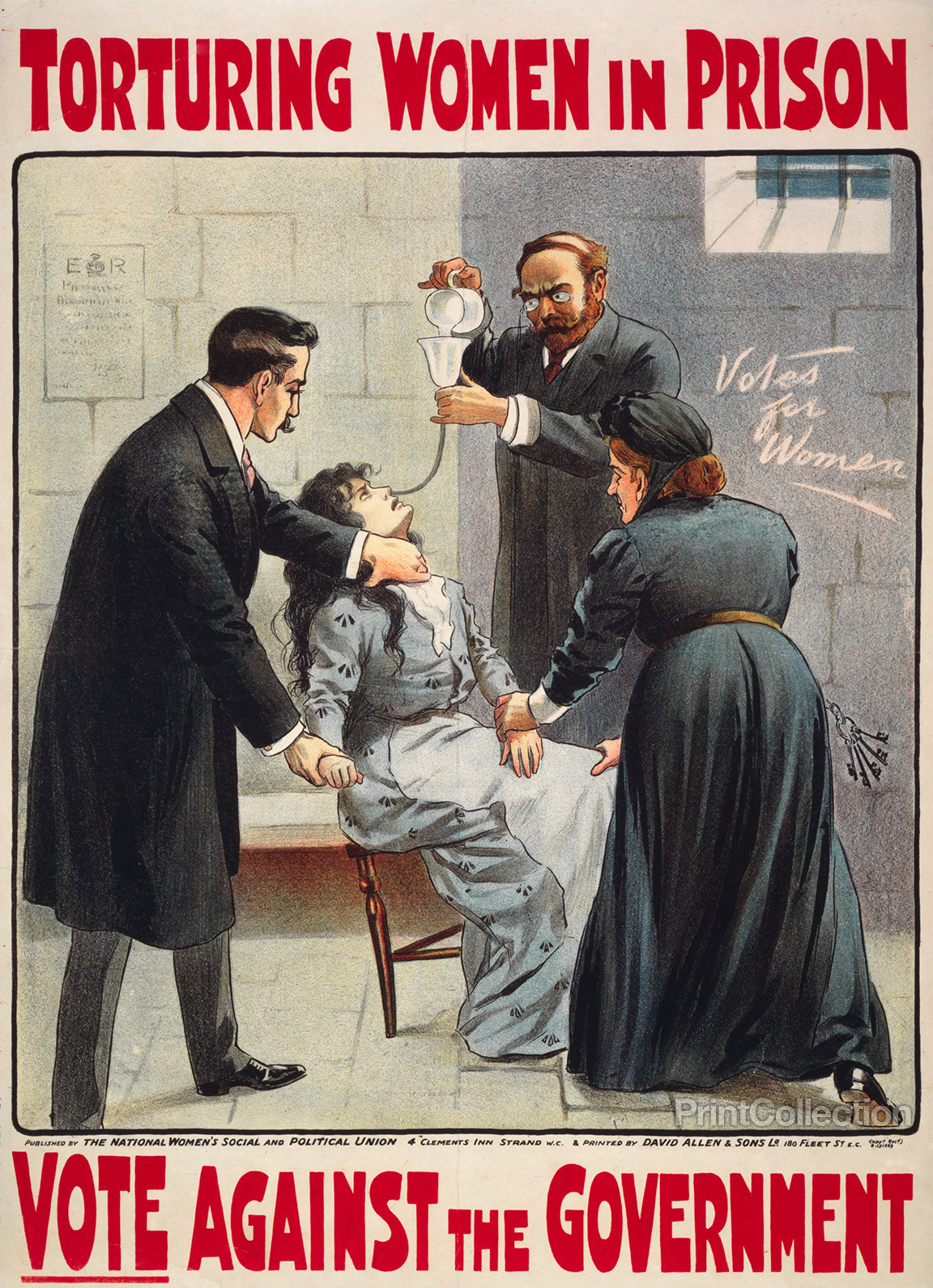 Torturing women in prison Vote against the government. [London: The National Women's Social and Political Union, 190- printed by David Allen & Sons Lo] Image. Retrieved from the Library of Congress, .