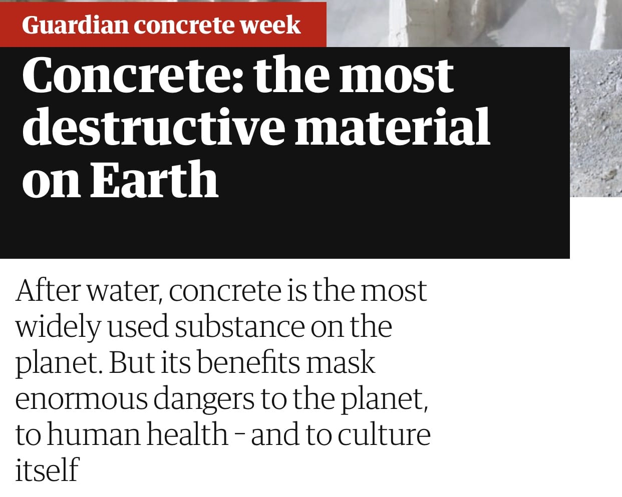 Concrete:the most destructive material on Earth