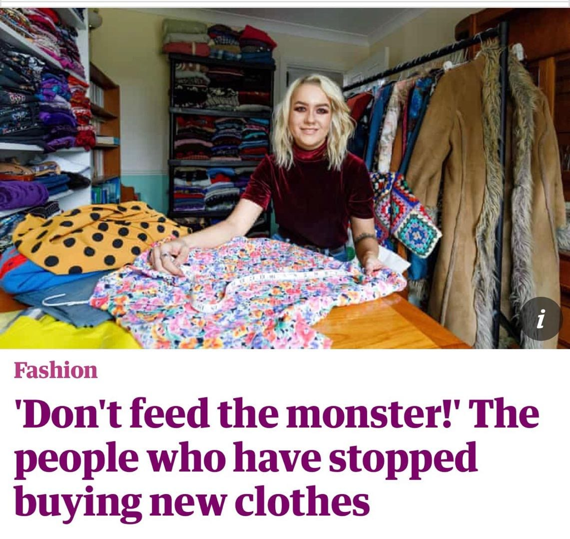 Don't feed the monster! The people who have stopped buying new clothes #sustainable system