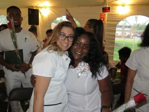 Nursing students at pinning ceremony.