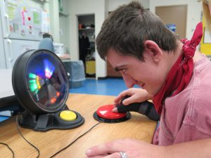 Stephen using color stimulation tool