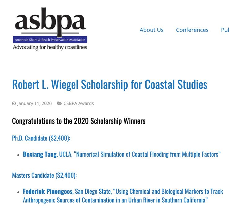 2020 Robert L. Weigel Scholarship for Coastal Studies – Burson Tang