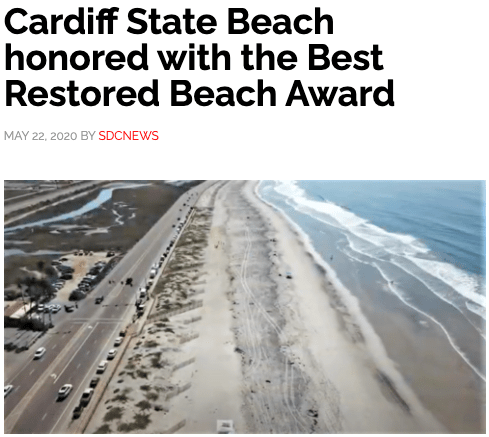 SDC News   Cardiff State Beach honored with the Best Restored Beach Award
