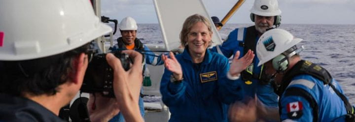 On June 7, the Alumna Kathy Sullivan visited Challenger Deep, which sits 10,928 meters (35,853 feet) deep in the western Pacific Ocean, as part of the Ring of Fire Expedition organized by bespoke adventure company EYOS Expeditions and undersea technology specialist Caladan Oceanic. (credit Enrique Alvarez/EYOS Expeditions)