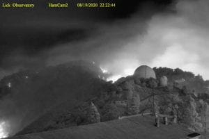 Fires burned around Lick Observatory Wednesday night, as seen in this image from the Mt. Hamilton webcam. (Credit: Lick Observatory)