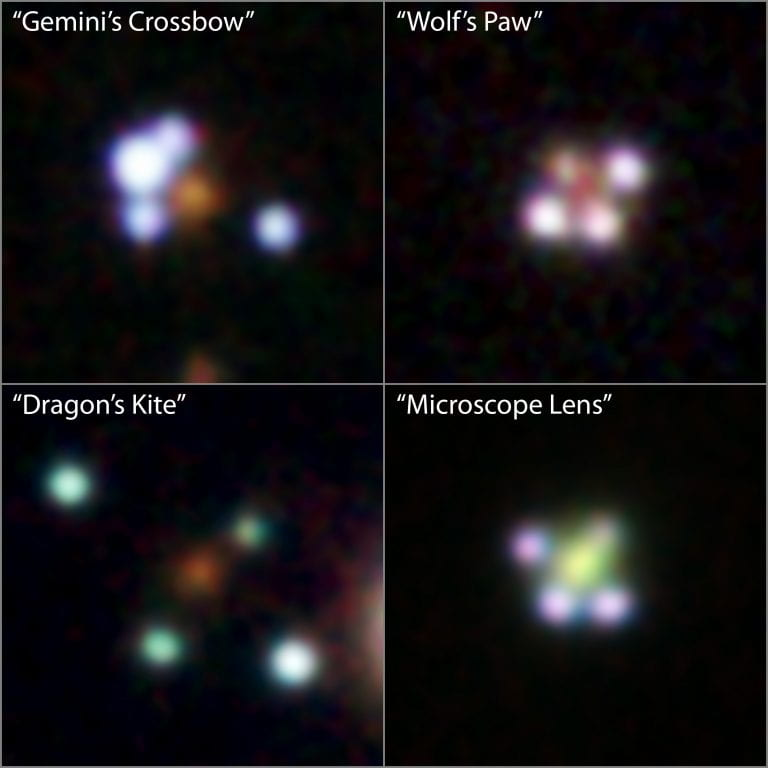 Discovery of rare 'quadruply imaged quasars' can help solve cosmological puzzles
