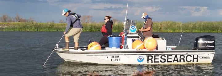 Central Valley team on a NOAA research boat in the Delta