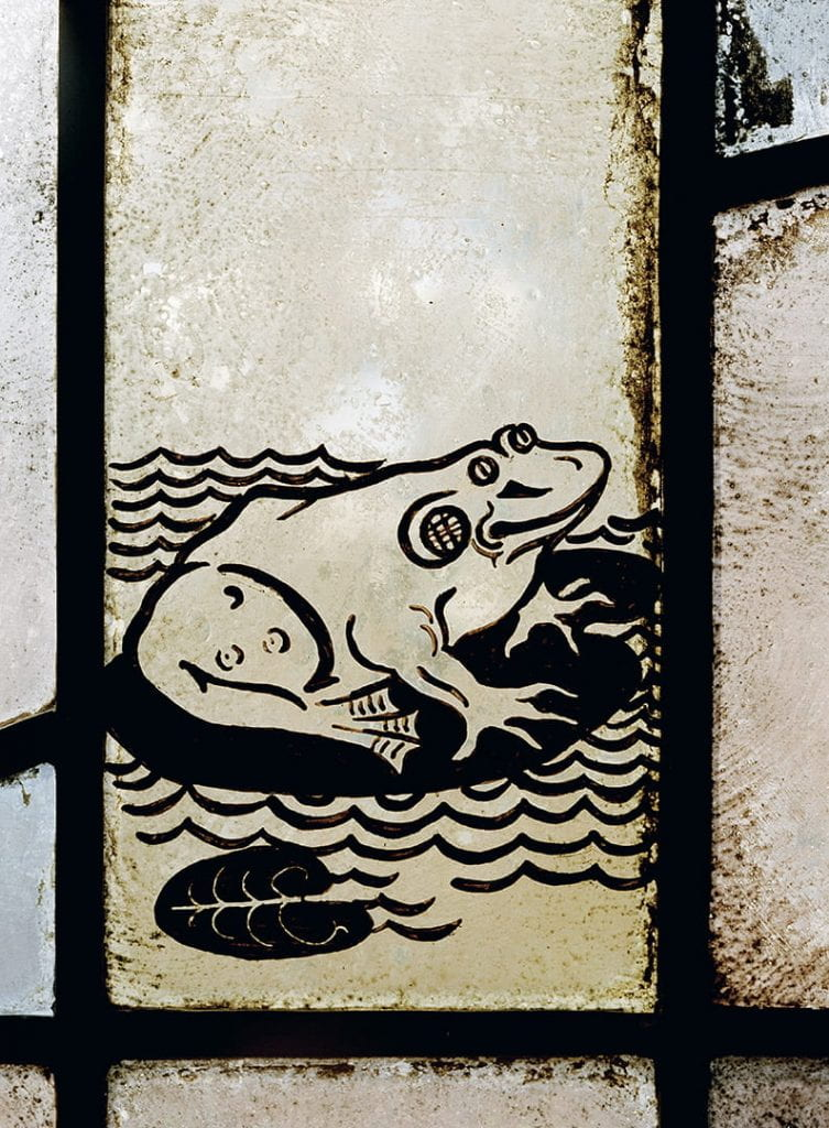 Stained glass image of a frog