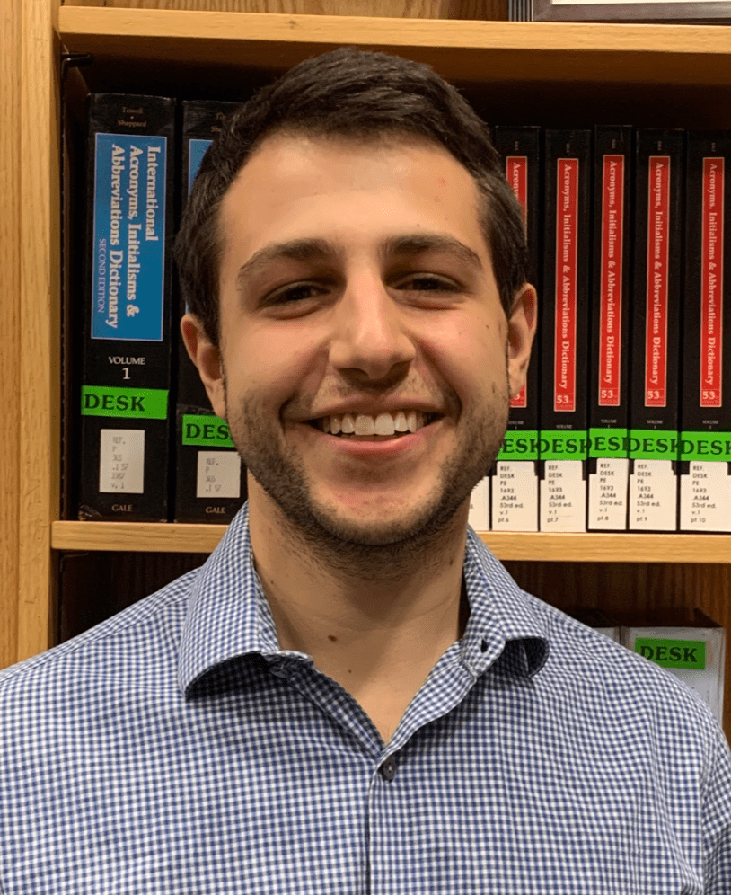 Photo: Jacob Kowall, Reference Assistant, O'Neill Library, and Simmons University School of Library and Information Science '21