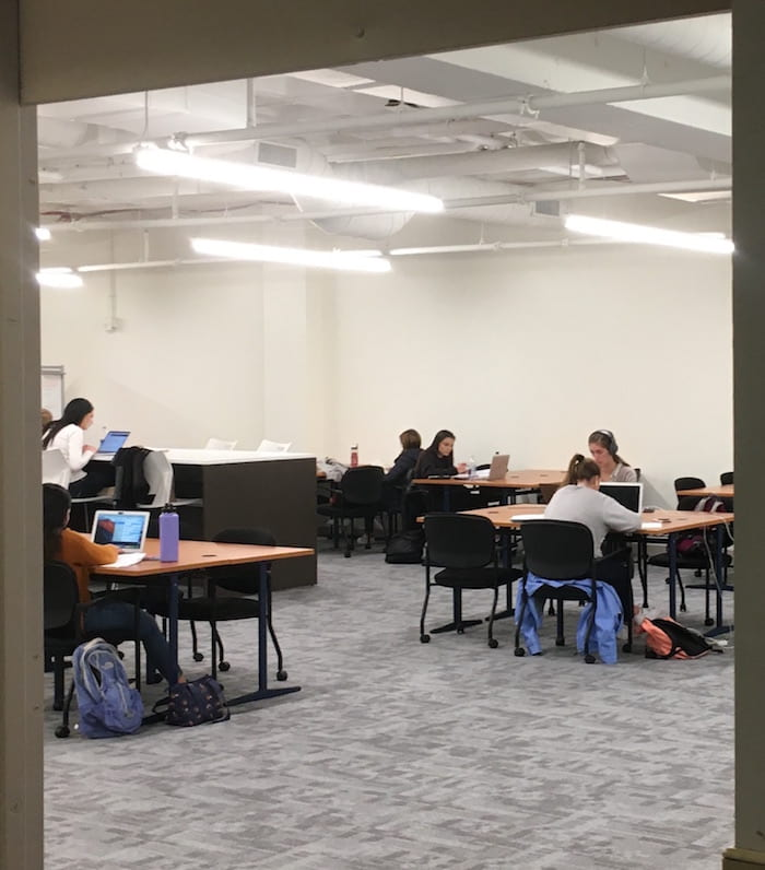 Students at work in the new study space on O'Neill Library's 5th floor.